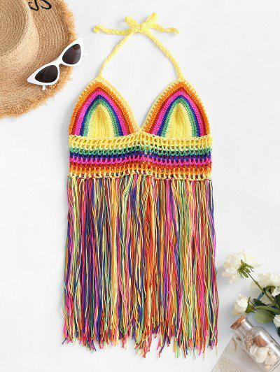 Fringed Rainbow Striped Crochet Beach Cover-up Top - Multi