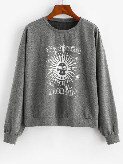 ZAFUL Sun Graphic Moon Child Drop Shoulder Sweatshirt - Dark Slate Grey M