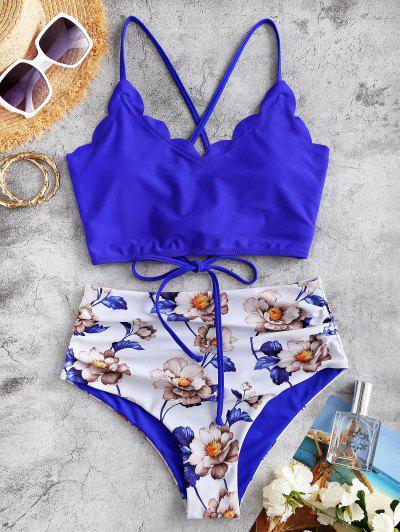 ZAFUL Blumen Überbackene Tummy Kontrolle Tankini Badebekleidung Mit Schnürung - Blau 2xl