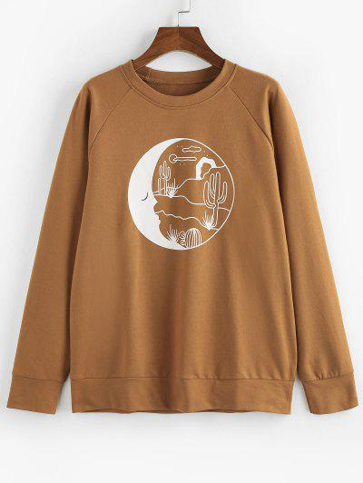 ZAFUL Desert Moon Print Raglan Sleeve Sweatshirt - Coffee S