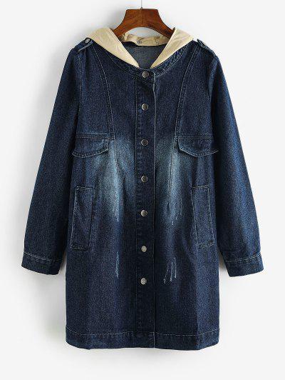 Distressed Detachable Hood Combo Denim Coat - Denim Dark Blue M