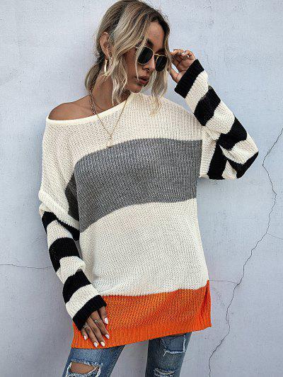 Drop Shoulders Colorblock Oversized Sweater - Warm White L