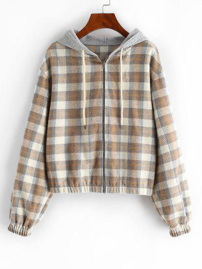 ZAFUL Plaid Hooded Fleece Flannel Zip Jacket - Tan L