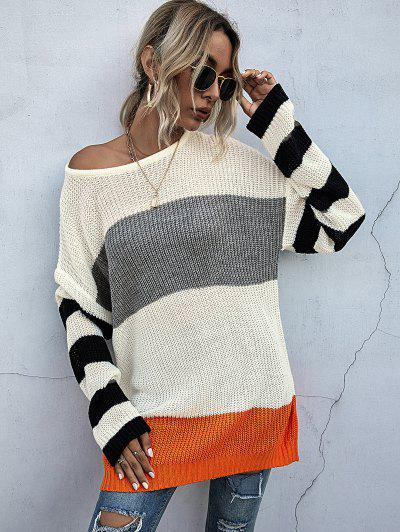 Drop Shoulders Colorblock Oversized Sweater - Warm White M