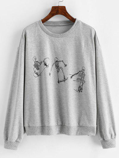 ZAFUL Halloween Funny Skeleton Print Drop Shoulder Sweatshirt - Light Gray L