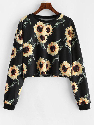 ZAFUL Drop Shoulder Sunflower Pattern Short Sweatshirt - Black S