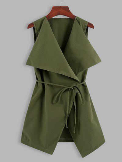 Solid Belted Waterfall Longline Waistcoat - Deep Green L