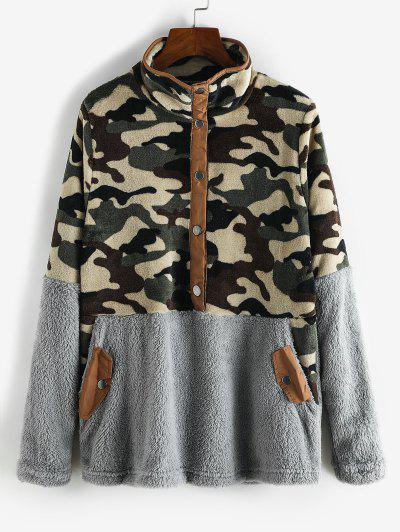 Camouflage Snap Button Pockets Fluffy Sweatshirt - Gray M