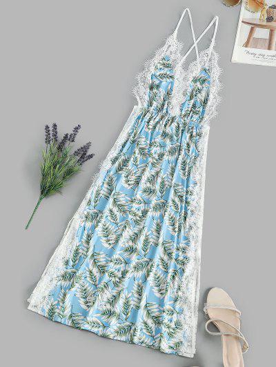 Leaf Print Lace Eyelash Slit Cami Night Dress - Light Sky Blue L