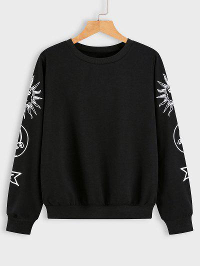 Sonnen Mond Und Stern Grafik Sweatshirt - Schwarz M