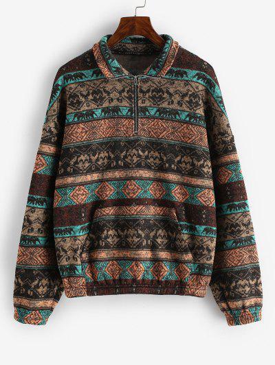 ZAFUL Fleece Lined Ethnic Half Zip Drop Shoulder Sweatshirt - Multi-a S