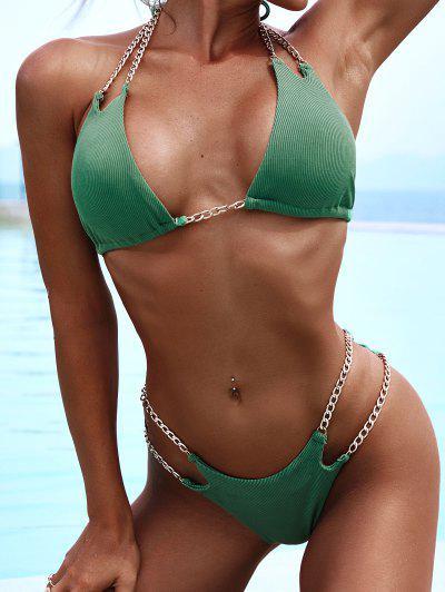 ZAFUL Chains Ribbed Bralette Tie Bikini Swimwear - Deep Green M