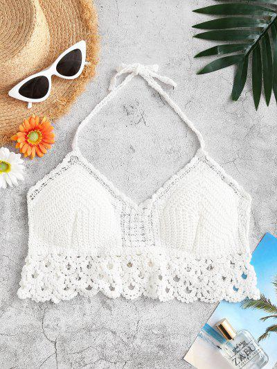 Halter Tie Padded Crochet Beach Top - White