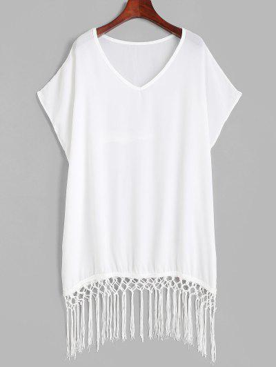 Fringed Oversized Tunic Beach Cover-up Dress - White