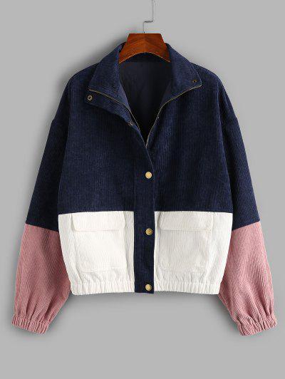 ZAFUL Drop Shoulder Corduroy Pocket Colorblock Jacket - Multi-a L