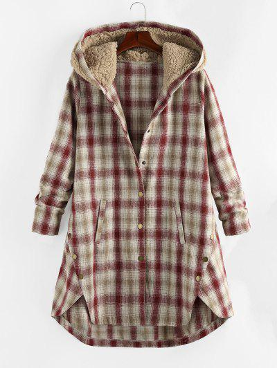 Plus Size Plaid Hooded Teddy Snap Button Coat - Cherry Red L