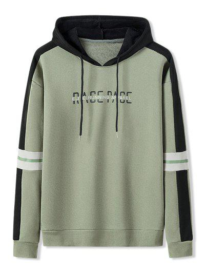 Letter Print Colorblock Patch Hoodie - Army Green L