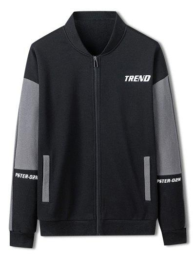 Trend Letter Print Colorblock Jacket - Black Xs