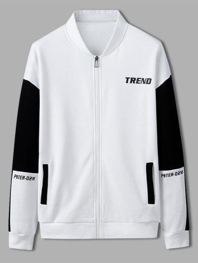 Trend Letter Print Colorblock Jacket - White L