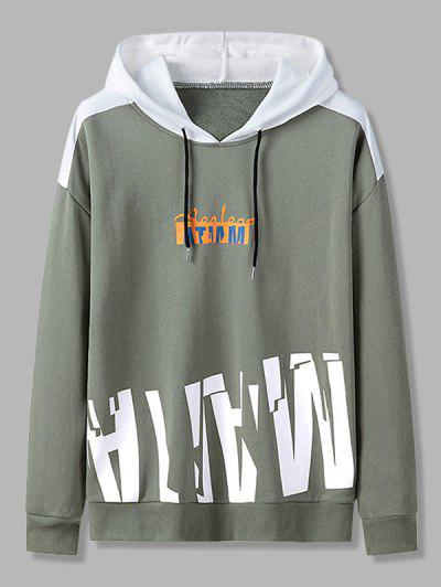 Letter Print Colorblock Patch Panel Hoodie - Army Green M