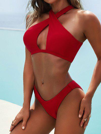 ZAFUL Maillot De Bain Bikini Découpé Croisé à Jambe Haute - Rouge L