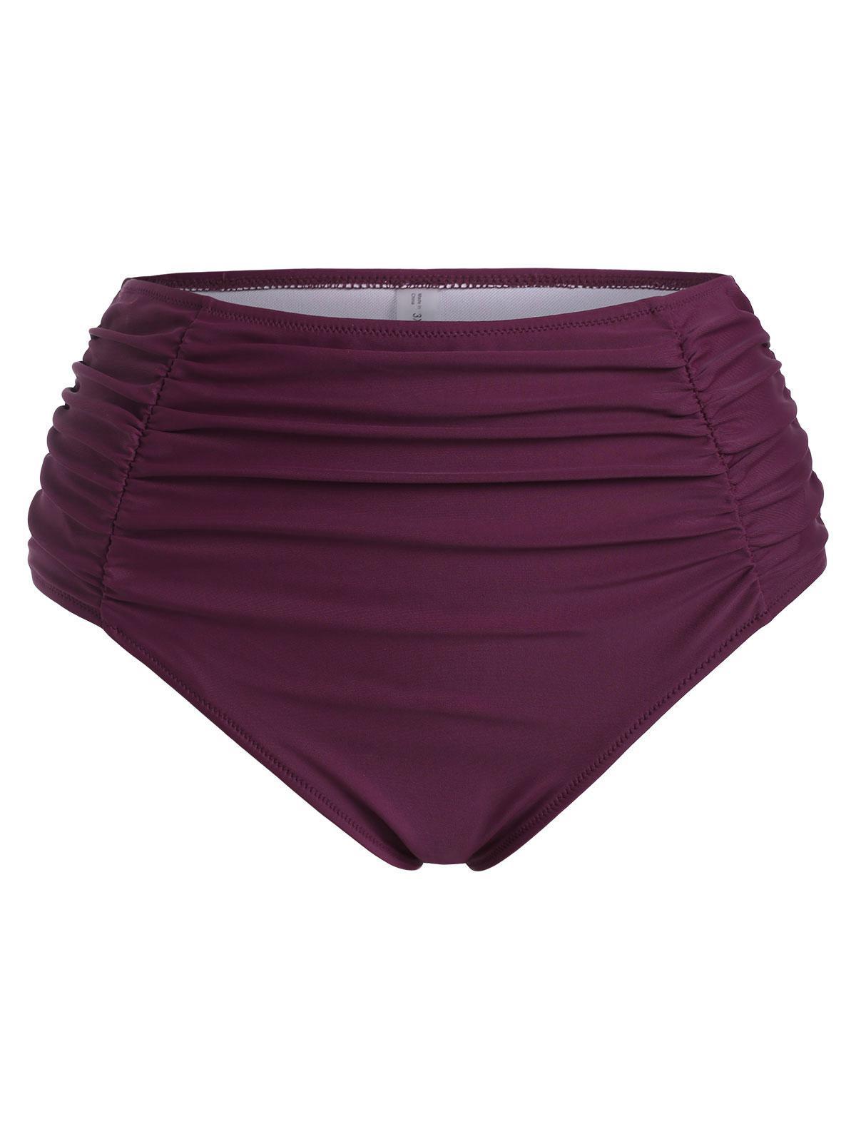 ZAFUL Plus Size Ruched High Rise Bikini Bottom