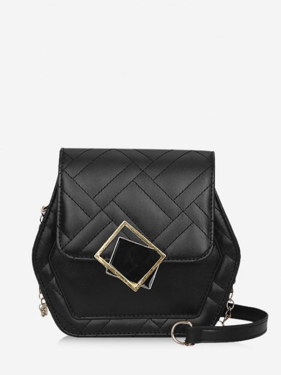 shops Geometric Quilted Chain Crossbody Bag - BLACK