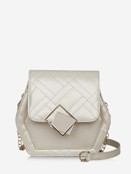 latest Geometric Quilted Chain Crossbody Bag - MILK WHITE