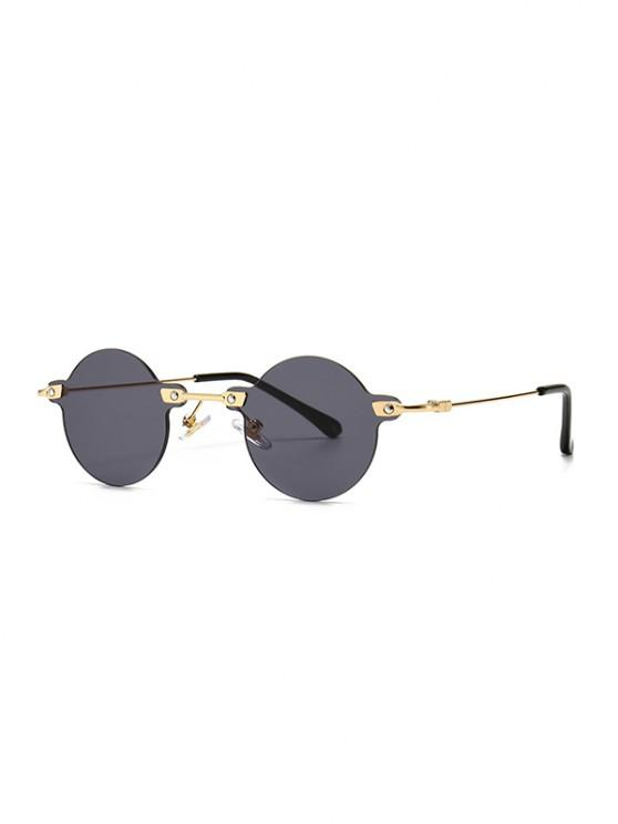 new Retro Round Metal Rimless Sunglasses - BLACK