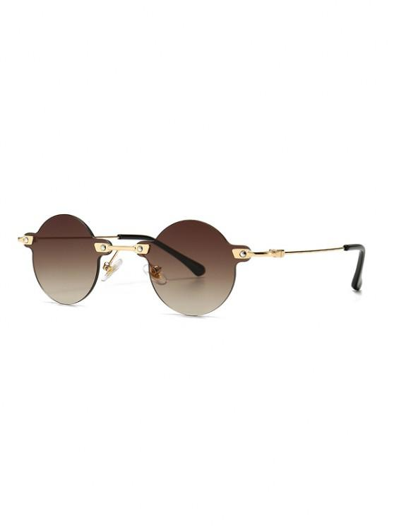 hot Retro Round Metal Rimless Sunglasses - COFFEE