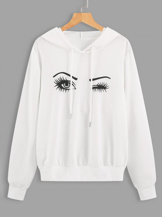 best Drawstring Eyes Graphic Hoodie - WHITE S