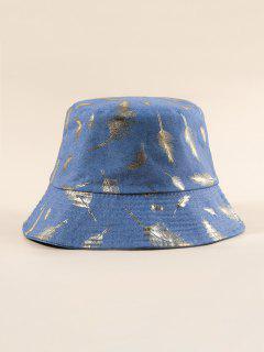Cappello Da Pescatore A Secchiello Con Stampa A Piume - Blu  Seta