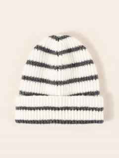 Chapéu De Malha De Inverno Com Padrão Listrado De Protector De Ouvidos Para Inverno - Multi-a