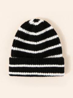 Sombrero Tejido Rayado Invierno - Negro