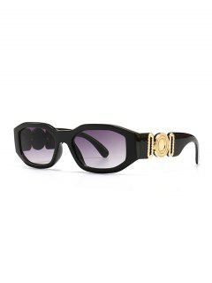 Retro Irregular Metal Embellished Sunglasses - Black