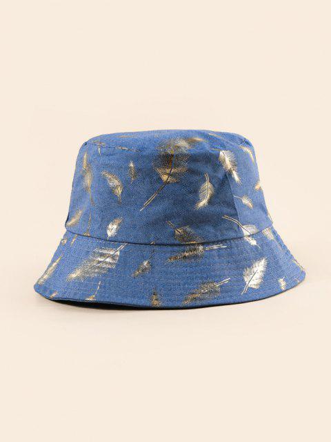 Chapeau Seau Plume Imprimée - Bleu de Soie  Mobile