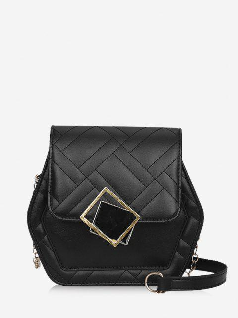 shops Geometric Quilted Chain Crossbody Bag - BLACK  Mobile