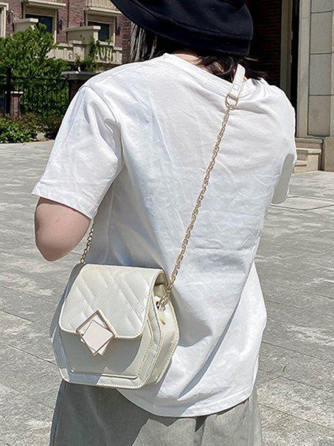 Geometrische Gesteppte Kette Umhängetasche - Milchweiß  Mobile