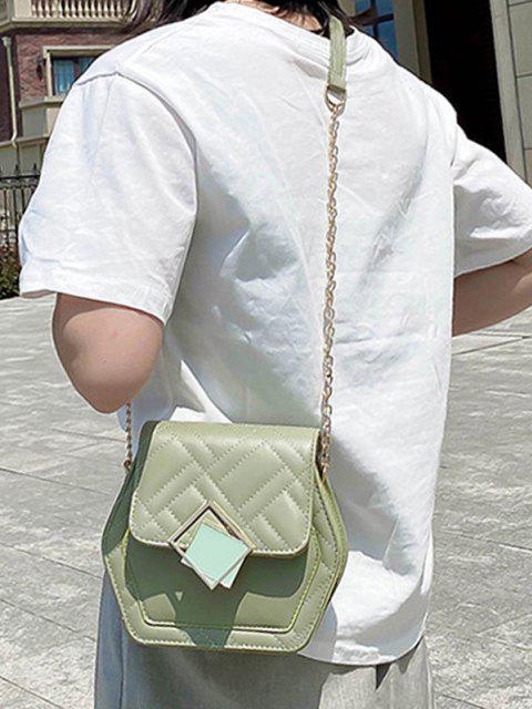 Sac à Bandoulière Matelassé avec Chaîne Motif Géométrique - Vert Camouflage  Mobile