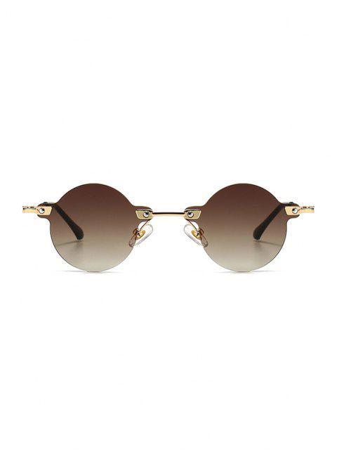 Metall Retro Runde Randlose Sonnenbrille - Kaffee  Mobile