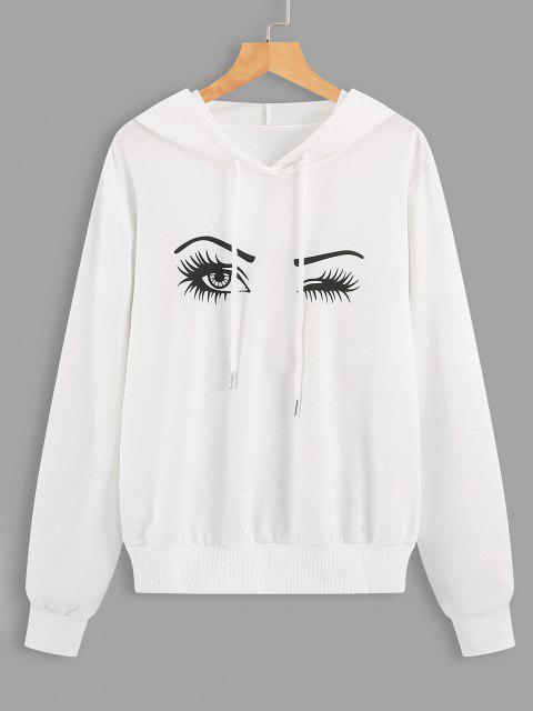 Drawstring Eyes Graphic Hoodie - أبيض XL Mobile