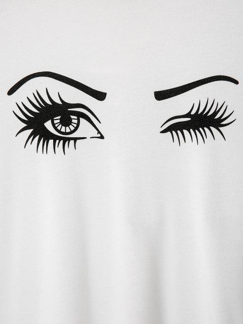 ladies Drawstring Eyes Graphic Hoodie - WHITE XL Mobile