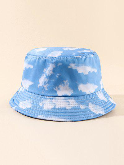 Sky Clouds Printed Bucket Hat - Crystal Blue