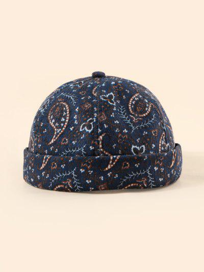 Paisley Printed Adjustable Skull Cap - Cadetblue