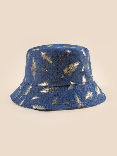 Feather Foil Print Bucket Hat - Light Slate Blue