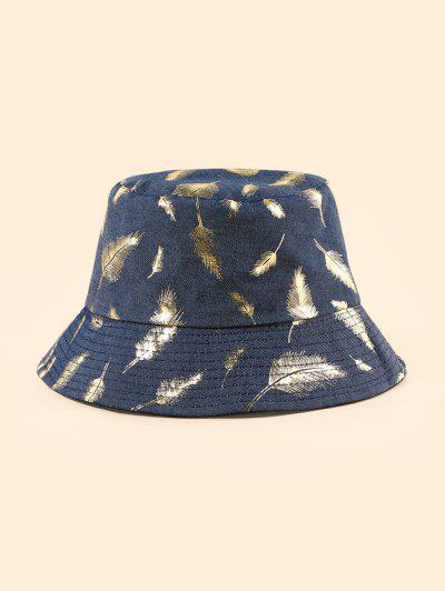 Feather Foil Print Bucket Hat - Midnight Blue