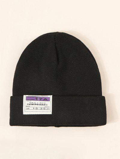 Cloth Label Turn Up Edge Knitted Hat - Black