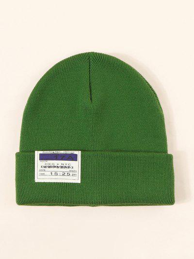 Chapéu De Malha De Pano Com Estilo De Labela - Verde Escuro