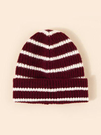 Winter Striped Pattern Knitted Hat - Red Wine