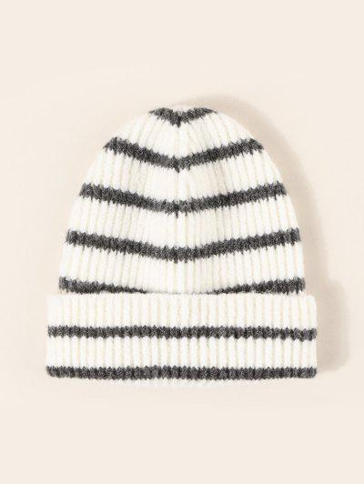 Winter Striped Pattern Knitted Hat - Multi-a